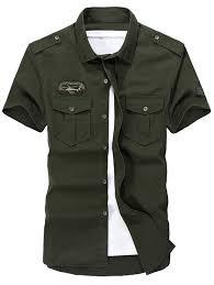 short sleeve slim fit cargo shirt army green xl in shirts