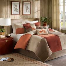 Rustic Bedroom with California King 7 Piece Brown Orange forter