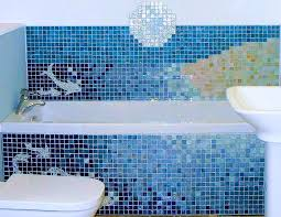 Blue Mosaic Bathroom Mirror by Accessories Scenic Master Bath White Subway Tiles Marble Pencil