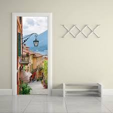 Creative Diy 3d Door Mural Sticker Old Town Living Room