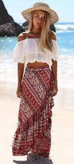 Summer Boho Style Addict Hat Crop Top Skirt