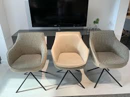 3 elegante koinor esszimmerstühle mit armlehne leder stoffbezug