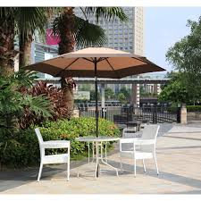9 Ft Patio Umbrella With Crank by 8ft 6 Ribs Patio Umbrella Outdoor Beach W Crank Tilt Tan Ebay