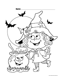 Halloween Little Funny Witch Coloring Page For Kids Printable Free