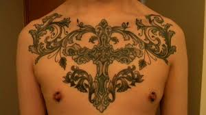 Chest Tribal Cross Tattoo Designs