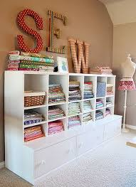 Open Front Shelving For Fabric Storage