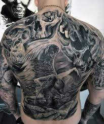 Fallen Angel With Skulls Mens Crazy Back Tattoo Design Ideas