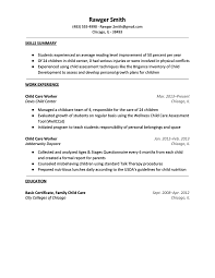 Chil Child Care Resume Examples As Job