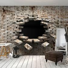 vlies fototapete 3d ziegelstein steinwand grau tapete wandbilder wohnzimmer