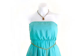 mint green strapless high low dress with gold link belt numodelo com