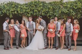 Fun Wedding Party Look Love The Groomsmen In Grey And Bridesmaid Dresses All Different