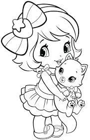 Kitten Coloring Pages Girl And Printable Christmas