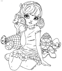 Easter Bunny Eggs Coloring Page