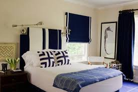 Dark Blue And White Bedroom Decorating Ideas Bed Headboard Upholstery Roman Shades Curtains In Matching Colors