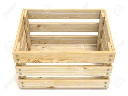 Empty Wooden Crate Front View 3D Render Illustration Isolated