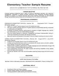 Resume Examples Free Elementary Education Template Sample Teacher