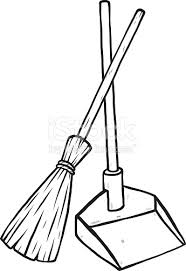 345x502 and dustpan clipart black and white