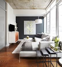Grey Accent Wall Family Room Contemporary With Tables Adjustable Height Floor Lamps