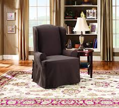 Stretch Suede Wing Chair Recliner Slipcover by Amazon Com Sure Fit Twill Supreme Wing Chair Slipcover Coffee
