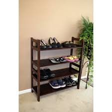 Awesome Shoe Rack Design Inspiration Featuring Espresso 4 Tier ... Fniture Beauteous For Small Walk In Closet Design And Metal Shoe Rack Target Mens Racks Closets Storage Wooden Plans Wood Designs Cabinet Lawrahetcom Entryway Awesome House Good Ideas Sweet Running Diy With Final Measurements Interesting Outdoor 15 Your Trends Home Interior Shoe Rack Homemade 20 Cabinets That Are Both Functional Stylish Closed Best 25 Racks Ideas On Pinterest Chic Of White Painted
