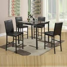 Poundex 5 PCs Black Faux Marble Top Square Counter Height Dining Table Leather Upholstered High