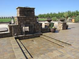 fireplace contractors stacked brick concrete