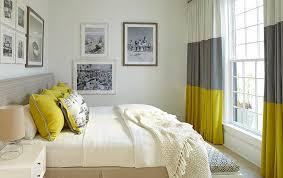 View In Gallery Gray And Yellow Bedroom With Vintage Black White Photograph On The Walls Design