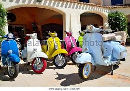 Colourful Vespa Scooters Old And New Models Province Of Olbia Tempio Sardinia