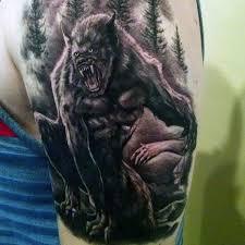 Howling Werewolf Tattoo Mens Upper Arms