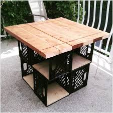 Build A Patio Table By Mixing Crates With Wood