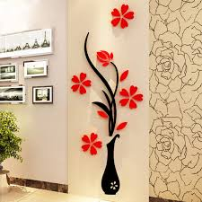 Luxury Idea Stickers For Wall Decor 3D Vase Removable Flower Tree Crystal Acrylic Sticker Home
