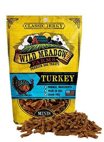 Wild Meadow Farms - Classic Turkey Minis - USA Made Soft Jerky Training Treats for Dogs, 4 oz