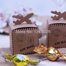 100pcs Rustic Wedding Decor Air Mail Kraft Paper Candy Box Travel Themed Decoration Mariage Vintage