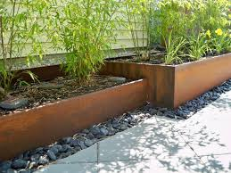 Rusted Steel Planters and bamboo Contemporary Landscape