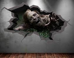 Zombie Walking Apocolypse Cracked 3D Wall Sticker Mural Decal Graphic Art Boys Girls Bedroom