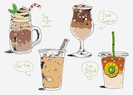 Iced Coffee Cafe Menu Hand Drawn Vector Illustration
