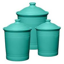 mid century turquoise kitchen canister set storage tins by