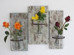 Image Is Loading Rustic Flower Holder 3 Glass Plant Pots Wall