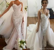 2017 Luxurious Lace Arabic Wedding Dresses Spaghetti Mermaid Sparkly Illusion Bridal Sexy Vintage Gowns Pink Simple