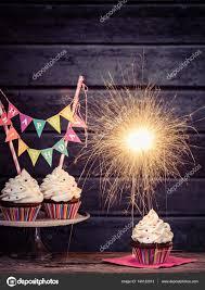 Birthday Sparkler Cupcakes — Stock