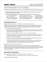 Great Teacher Resume Examples Sample For A Substitute Best Teaching Samples
