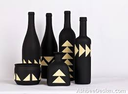 Decorative Wine Bottles Crafts by Ashbee Design Upcycled Painted Wine Bottles Combined With Bamboo