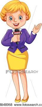 Clip Art Of Female Reporter Reporting News K36548958