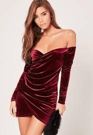 bardot wrap long sleeve velvet dress burgundy missguided
