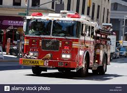 A New York City Fire Department Truck Responds To An Emergency Call ...