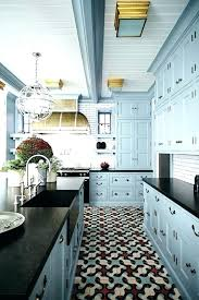 Kitchen Floor Tile Ideas With Cream Cabinets Red Blue And Creates An Ambience
