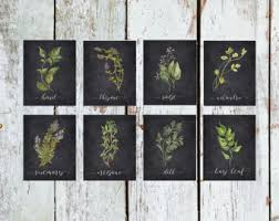 Herb Printable Set Of 8 Rustic Kitchen Decor Watercolor Botanical Prints Instant