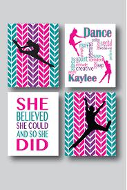 Set Of 4 Prints Dance Room Decor Girls Wall By MDesignCompany