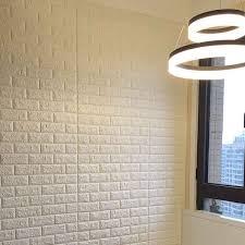 3D Faux White Self Adhesive Brick PE Foam Stick Wallpaper