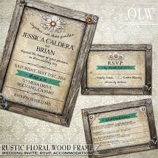 Rustic Wedding Invitation RSVP Card Accommodations Wood Frame Border Parchment Background Daisy Flowers DIY